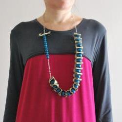 Ribbon necklace -Dreamy Trendy Wrap ribbon and wood balls by El rincón de la Pulga